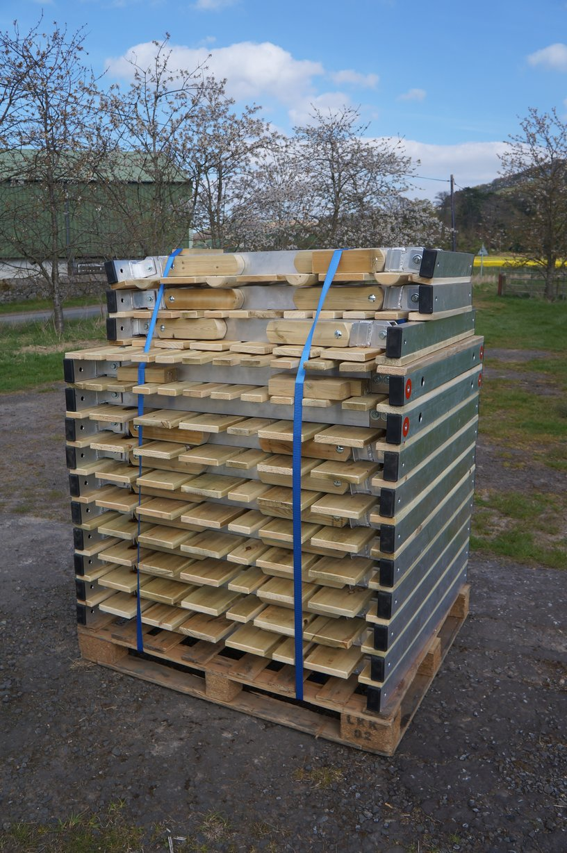 Shoretrax system stacked up on a pallet for transportation